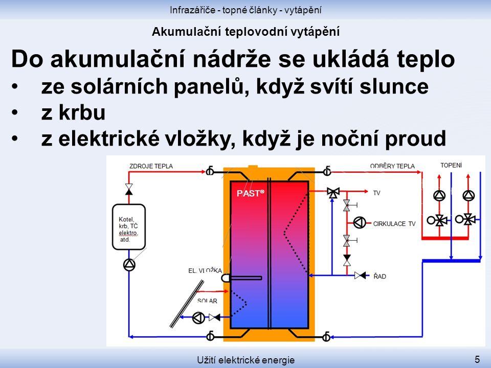 Infrazářiče - topné články - vytápění Užití elektrické energie 5 Do akumulační nádrže se ukládá teplo ze solárních panelů, když svítí slunce z krbu z elektrické vložky, když je noční proud
