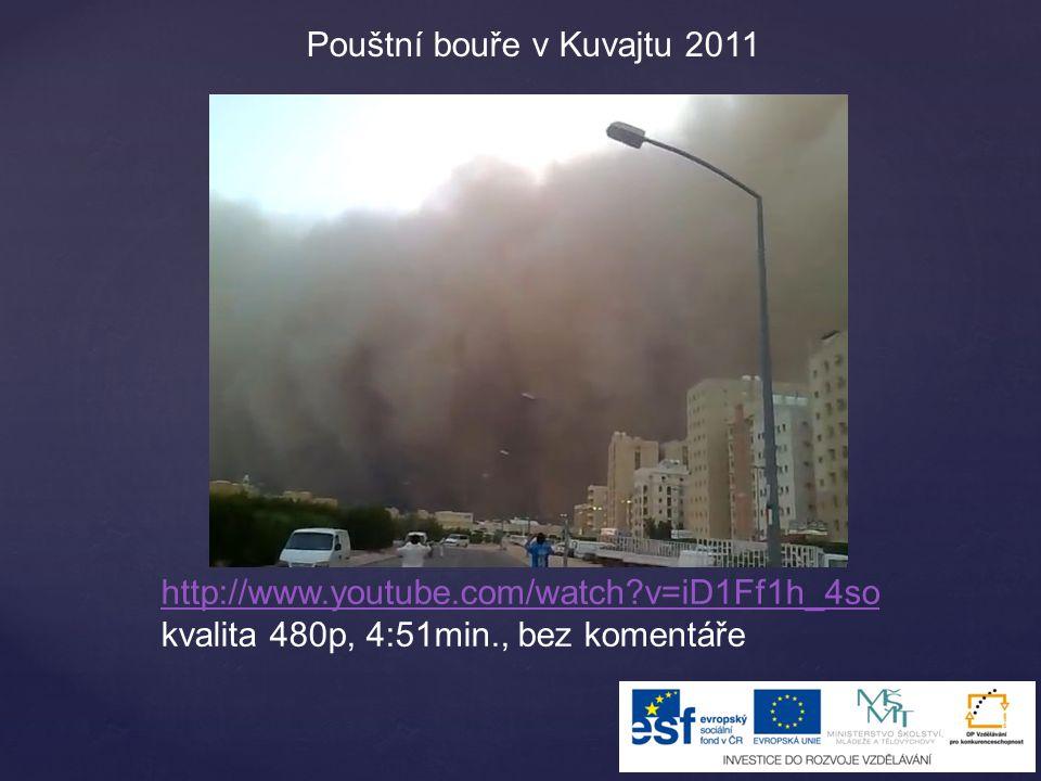 http://www.youtube.com/watch?v=iD1Ff1h_4so kvalita 480p, 4:51min., bez komentáře Pouštní bouře v Kuvajtu 2011