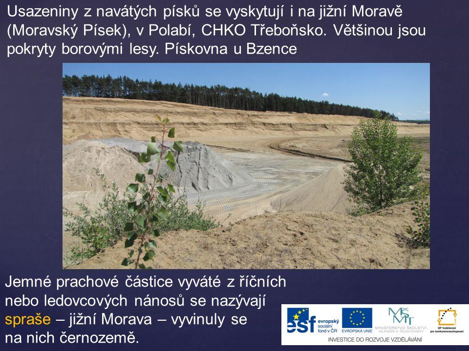 Usazeniny z navátých písků se vyskytují i na jižní Moravě (Moravský Písek), v Polabí, CHKO Třeboňsko. Většinou jsou pokryty borovými lesy. Pískovna u