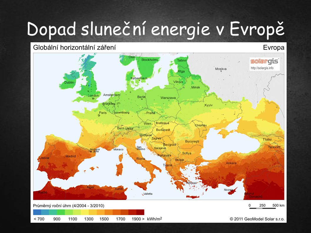 Využití slunečního záření ● Přímé : ● - pro výrobu elektrické energie (obvykle fotovoltaický článek ale také stirlingův motor), ● - v zemědělství (skleníky), ● - zpracování užitkové vody (ohřev, ale též desalinace a desinfekce), ● - vytápění