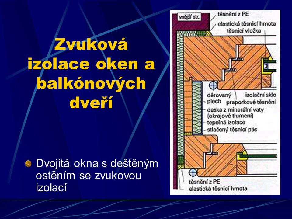 Zvuková izolace oken a balkónových dveří Upevnění skel : Aby se snížil přenos zvukové oscilace ze skla na materiál rámu, je vhodné upevnit sklo do pol