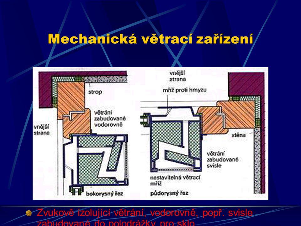 Mechanická větrací zařízení Mechanická, popř. strojní větrací zařízení mohou zvukově izolovat, a současně zajistit pomocí ventilátoru průchod vypočten