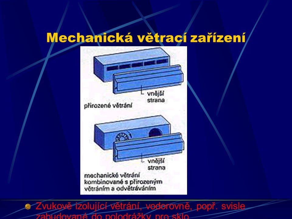 Mechanická větrací zařízení Zvukově izolující větrací zařízení mohou být plně automatizované, pokud je v nich zabudován časový spínač nebo čidlo kontr