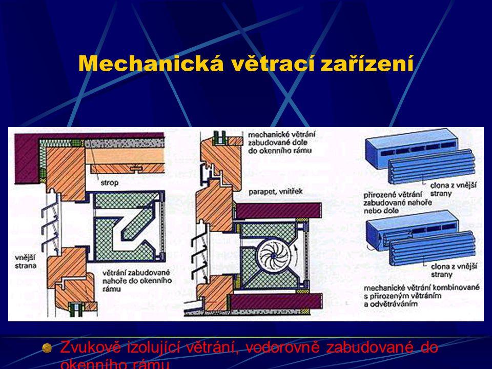 Mechanická větrací zařízení Zvukově izolující větrání, vodorovně, popř. svisle zabudované do polodrážky pro sklo