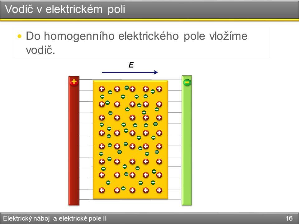 Vodič v elektrickém poli Elektrický náboj a elektrické pole II 16 Do homogenního elektrického pole vložíme vodič. + - E