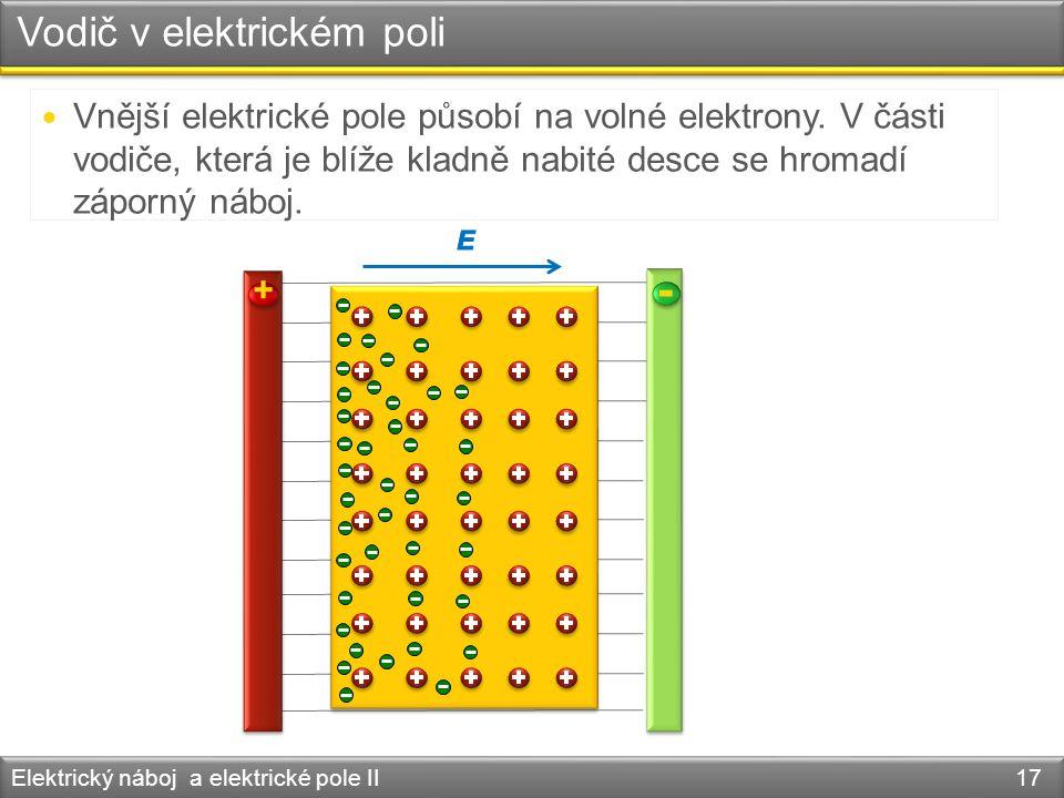 Vodič v elektrickém poli Elektrický náboj a elektrické pole II 17 + - Vnější elektrické pole působí na volné elektrony. V části vodiče, která je blíže