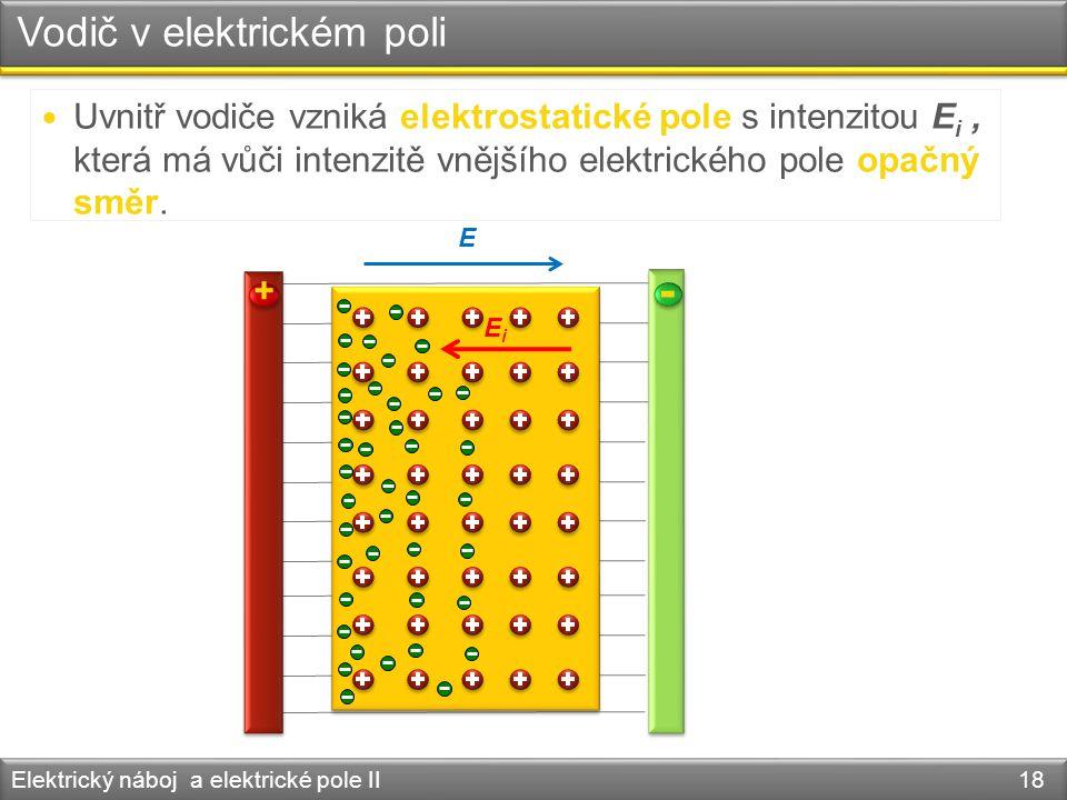 Vodič v elektrickém poli Elektrický náboj a elektrické pole II 18 + - E Uvnitř vodiče vzniká elektrostatické pole s intenzitou E i, která má vůči inte