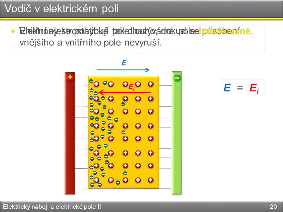 Vodič v elektrickém poli Elektrický náboj a elektrické pole II 20 + - E Elektrony se pohybují tak dlouho, dokud se působení vnějšího a vnitřního pole