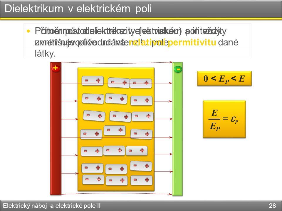 Dielektrikum v elektrickém poli Elektrický náboj a elektrické pole II 28 + - Přítomnost dielektrika v elektrickém poli vždy zmenšuje původní intenzitu