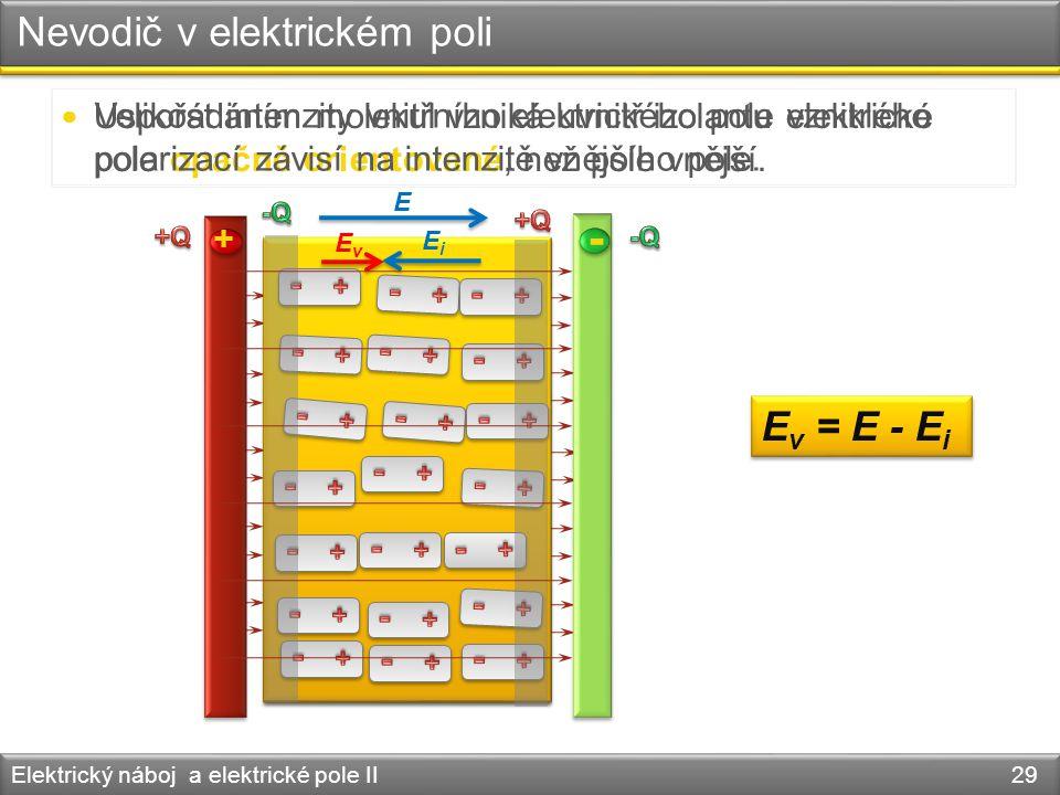 Nevodič v elektrickém poli Elektrický náboj a elektrické pole II 29 Uspořádáním molekul vzniká uvnitř izolantu elektrické pole opačně orientované, než