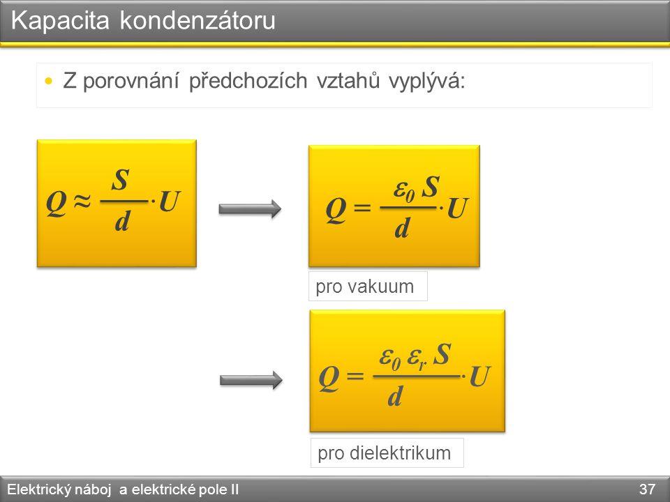 Kapacita kondenzátoru Elektrický náboj a elektrické pole II 37 Z porovnání předchozích vztahů vyplývá: Q ≈ ·U S d Q = ·U  0 S d pro vakuum Q = ·U  0