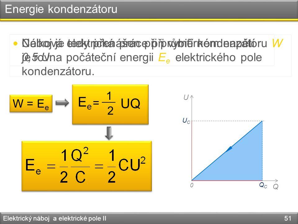 Energie kondenzátoru Elektrický náboj a elektrické pole II 51 Náboj je tedy přenášen při průměrném napětí 0,5 U. U Q 0 UCUC QCQC Celková elektrická pr