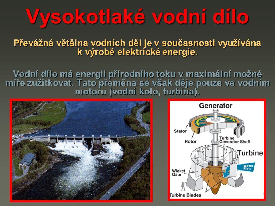 Vysokotlaké vodní dílo Řeky se od sebe liší spádem h (m) a množstvím protékající vody (průtokem) Q (m 3.s -1 ) Řeky s velkým spádem mají obvykle malý průtok.