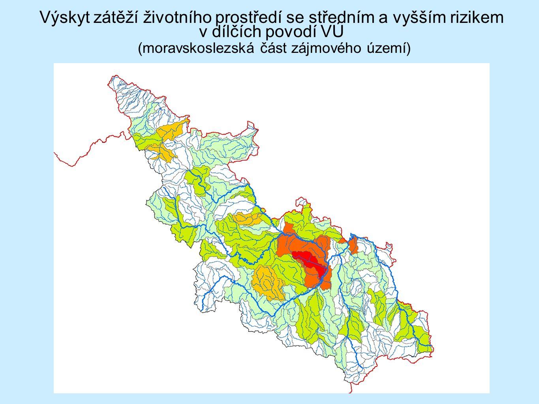 Výskyt zátěží životního prostředí se středním a vyšším rizikem v dílčích povodí VÚ (moravskoslezská část zájmového území)
