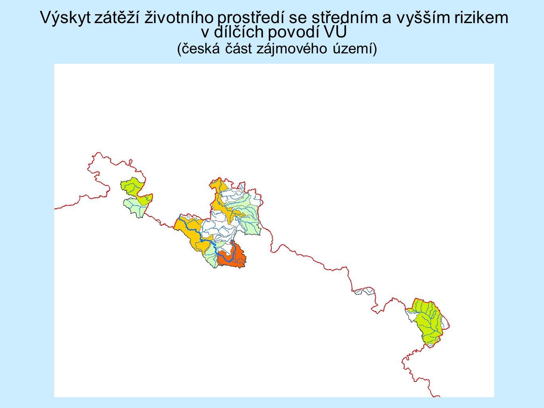 Výskyt zátěží životního prostředí se středním a vyšším rizikem v dílčích povodí VÚ (česká část zájmového území)