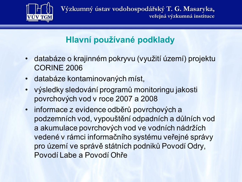 databáze o krajinném pokryvu (využití území) projektu CORINE 2006 databáze kontaminovaných míst, výsledky sledování programů monitoringu jakosti povrchových vod v roce 2007 a 2008 informace z evidence odběrů povrchových a podzemních vod, vypouštění odpadních a důlních vod a akumulace povrchových vod ve vodních nádržích vedené v rámci informačního systému veřejné správy pro území ve správě státních podniků Povodí Odry, Povodí Labe a Povodí Ohře Hlavní používané podklady