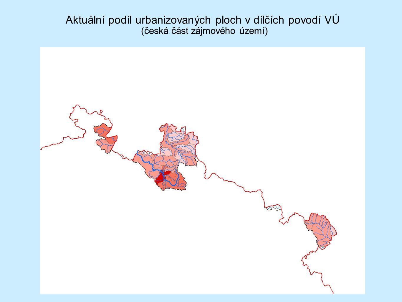 Aktuální podíl urbanizovaných ploch v dílčích povodí VÚ (česká část zájmového území)