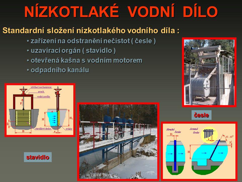 NÍZKOTLAKÉ VODNÍ DÍLO Standardní složení nízkotlakého vodního díla : zařízení na odstranění nečistot ( česle ) zařízení na odstranění nečistot ( česle