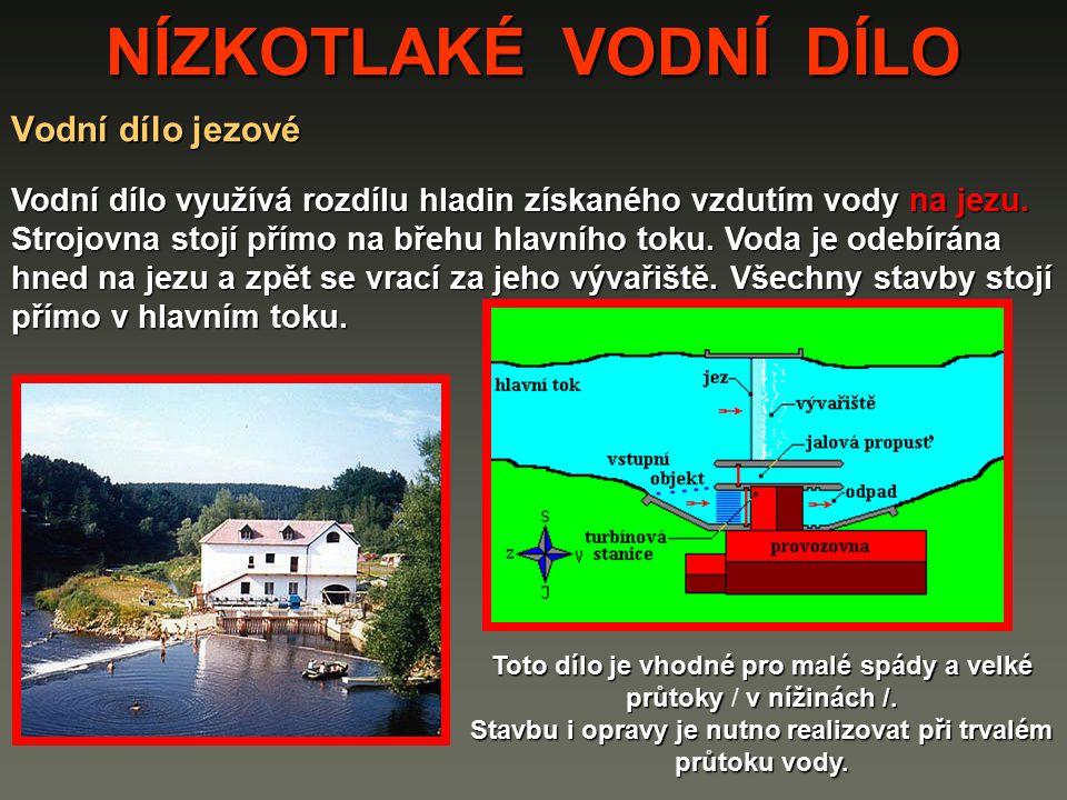 NÍZKOTLAKÉ VODNÍ DÍLO Říční nízkotlaké vodní dílo Tento typ vodního díla se staví do spádu asi 12 metrů.