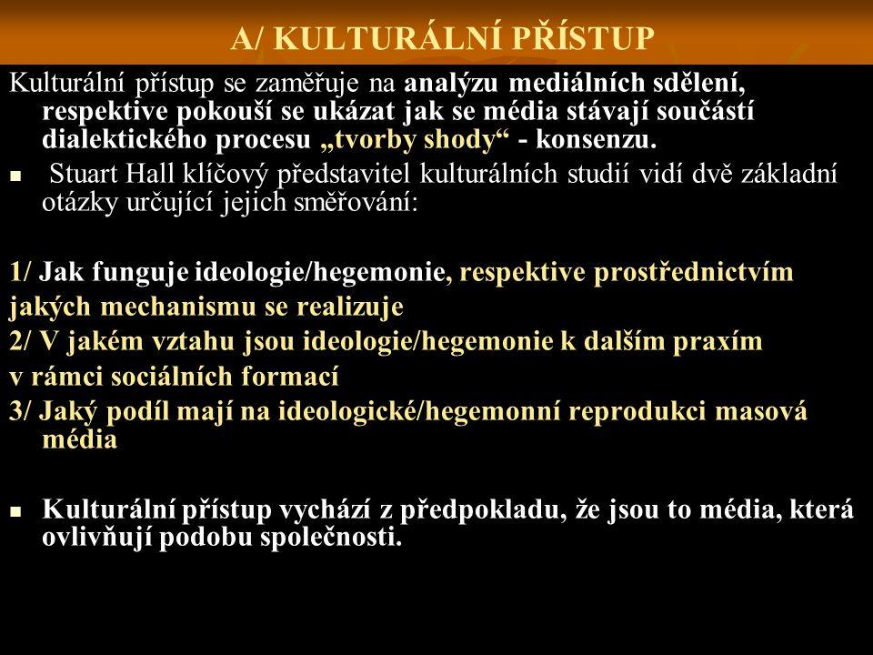 A/ KULTURÁLNÍ PŘÍSTUP Kulturální přístup se zaměřuje na analýzu mediálních sdělení, respektive pokouší se ukázat jak se média stávají součástí dialekt
