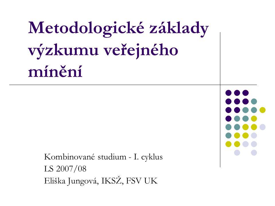 Metodologické základy výzkumu veřejného mínění Kombinované studium - I.