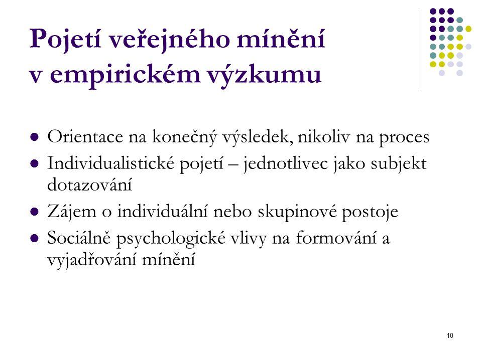 10 Pojetí veřejného mínění v empirickém výzkumu Orientace na konečný výsledek, nikoliv na proces Individualistické pojetí – jednotlivec jako subjekt dotazování Zájem o individuální nebo skupinové postoje Sociálně psychologické vlivy na formování a vyjadřování mínění