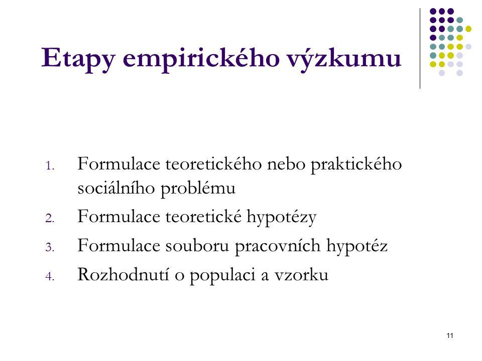 11 Etapy empirického výzkumu 1.Formulace teoretického nebo praktického sociálního problému 2.