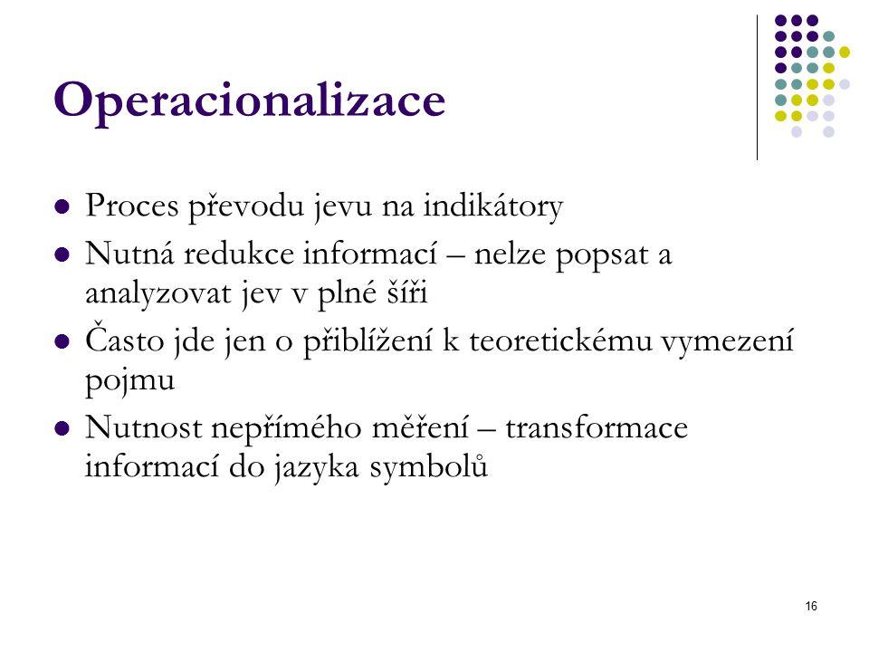 16 Operacionalizace Proces převodu jevu na indikátory Nutná redukce informací – nelze popsat a analyzovat jev v plné šíři Často jde jen o přiblížení k teoretickému vymezení pojmu Nutnost nepřímého měření – transformace informací do jazyka symbolů