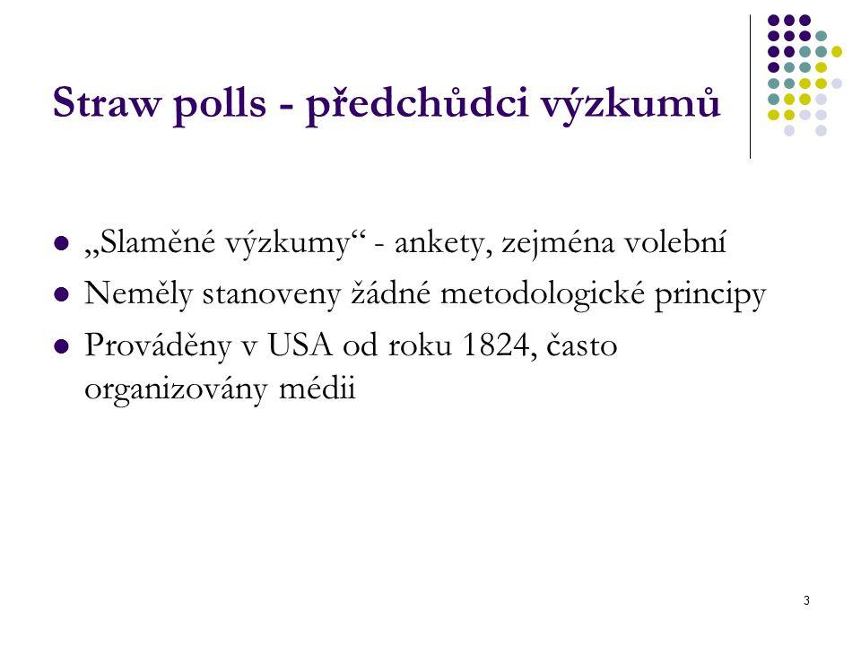 """3 Straw polls - předchůdci výzkumů """"Slaměné výzkumy - ankety, zejména volební Neměly stanoveny žádné metodologické principy Prováděny v USA od roku 1824, často organizovány médii"""