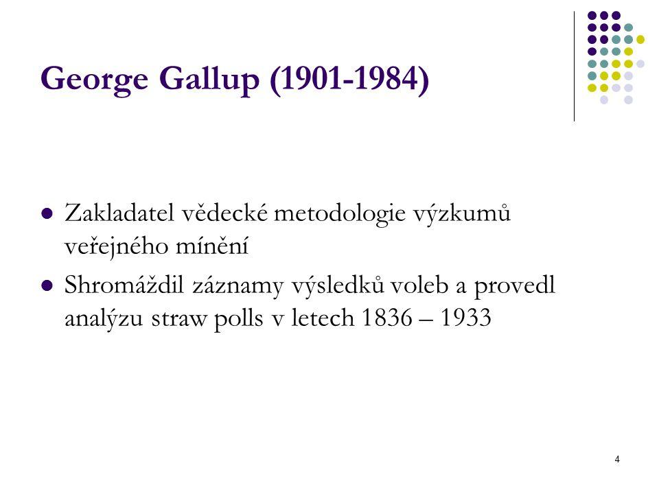 4 George Gallup (1901-1984) Zakladatel vědecké metodologie výzkumů veřejného mínění Shromáždil záznamy výsledků voleb a provedl analýzu straw polls v letech 1836 – 1933