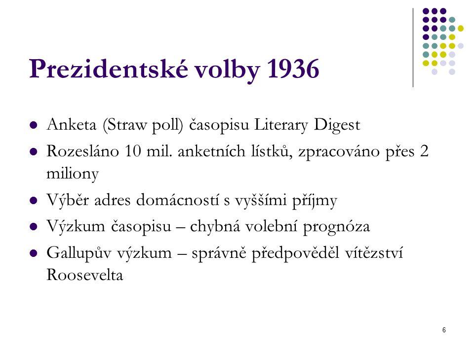 6 Prezidentské volby 1936 Anketa (Straw poll) časopisu Literary Digest Rozesláno 10 mil.