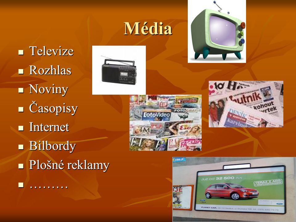 Média Televize Televize Rozhlas Rozhlas Noviny Noviny Časopisy Časopisy Internet Internet Bilbordy Bilbordy Plošné reklamy Plošné reklamy ……… ………