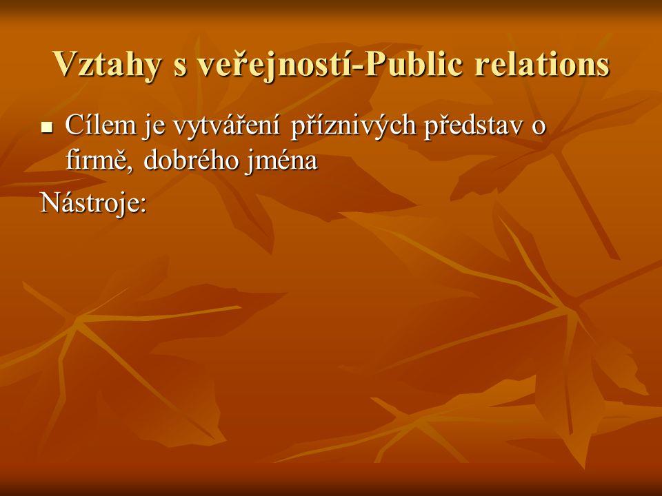 Vztahy s veřejností-Public relations Cílem je vytváření příznivých představ o firmě, dobrého jména Cílem je vytváření příznivých představ o firmě, dob