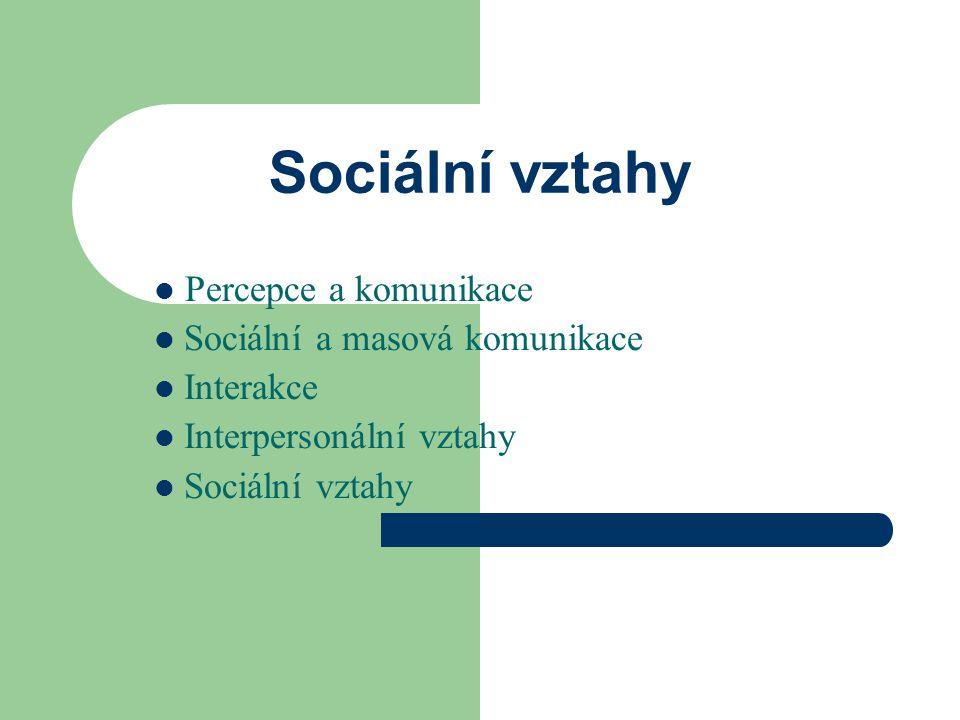 Sociální vztahy Percepce a komunikace Sociální a masová komunikace Interakce Interpersonální vztahy Sociální vztahy