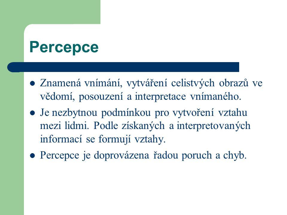 Percepce Znamená vnímání, vytváření celistvých obrazů ve vědomí, posouzení a interpretace vnímaného. Je nezbytnou podmínkou pro vytvoření vztahu mezi