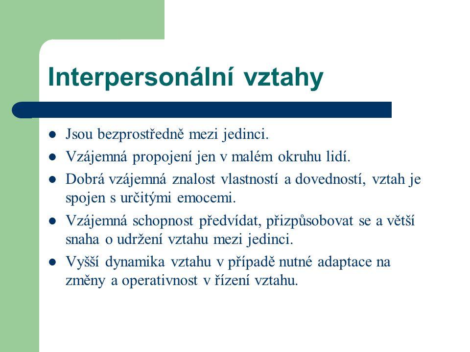 Interpersonální vztahy Jsou bezprostředně mezi jedinci. Vzájemná propojení jen v malém okruhu lidí. Dobrá vzájemná znalost vlastností a dovedností, vz
