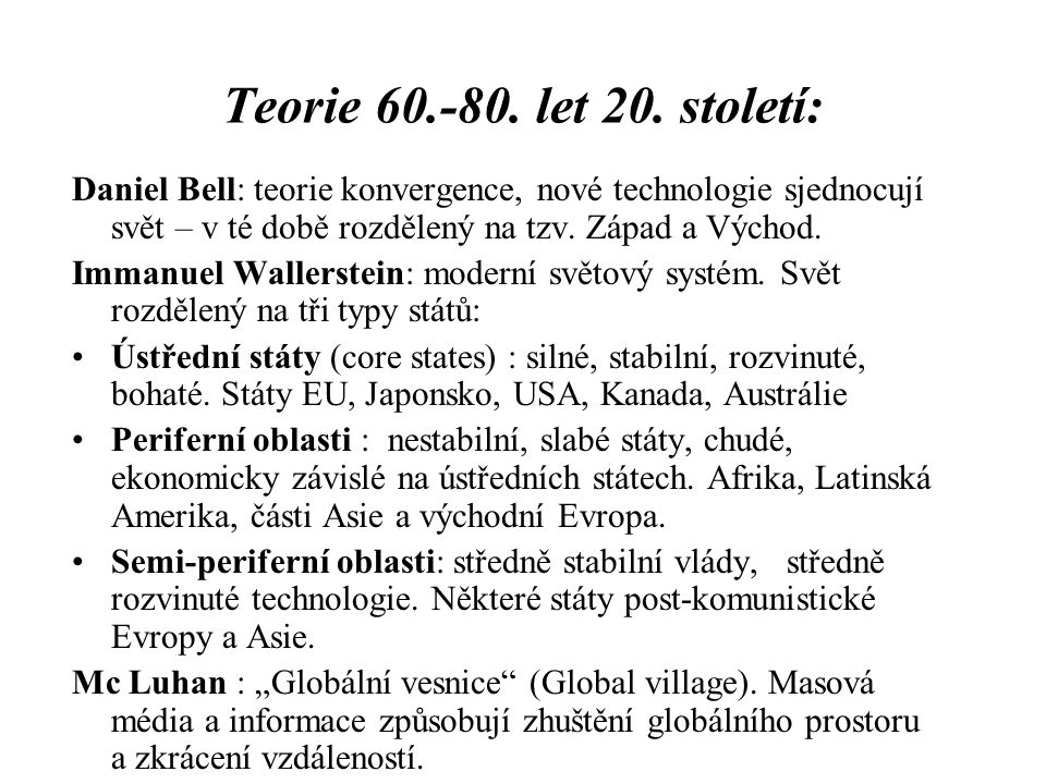 Teorie 60.-80.let 20.