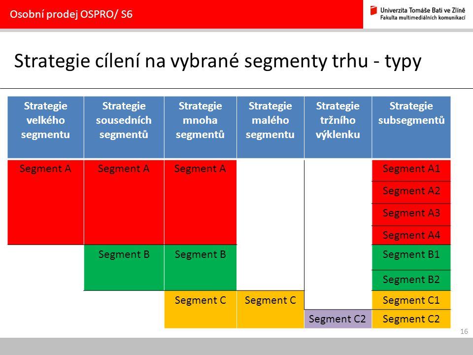 16 Strategie cílení na vybrané segmenty trhu - typy Osobní prodej OSPRO/ S6 Strategie velkého segmentu Strategie sousedních segmentů Strategie mnoha s