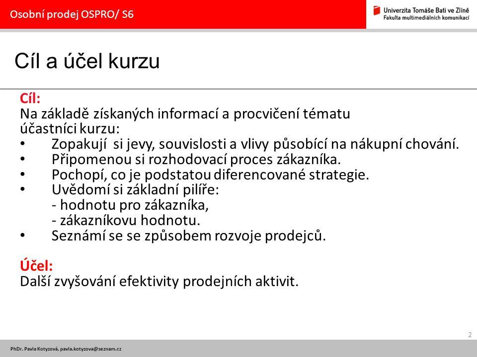 2 PhDr. Pavla Kotyzová, pavla.kotyzova@seznam.cz Cíl a účel kurzu Osobní prodej OSPRO/ S6 Cíl: Na základě získaných informací a procvičení tématu účas