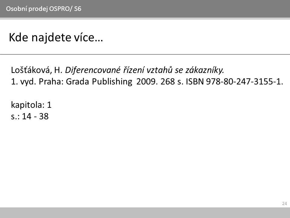 24 Kde najdete více… Osobní prodej OSPRO/ S6 Lošťáková, H. Diferencované řízení vztahů se zákazníky. 1. vyd. Praha: Grada Publishing 2009. 268 s. ISBN