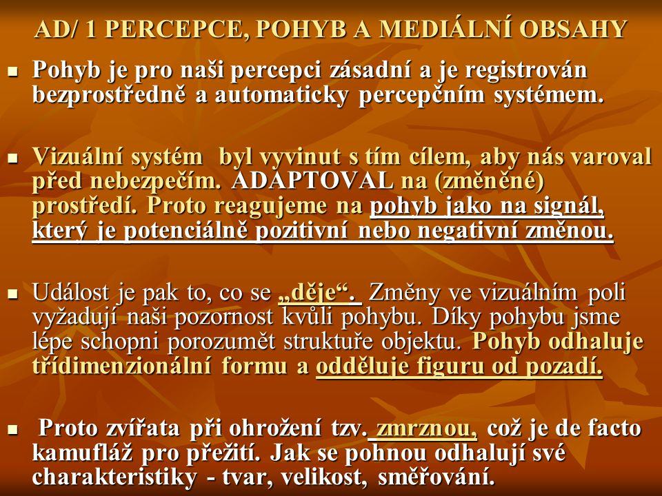 AD/ 1 PERCEPCE, POHYB A MEDIÁLNÍ OBSAHY Pohyb je pro naši percepci zásadní a je registrován bezprostředně a automaticky percepčním systémem. Pohyb je
