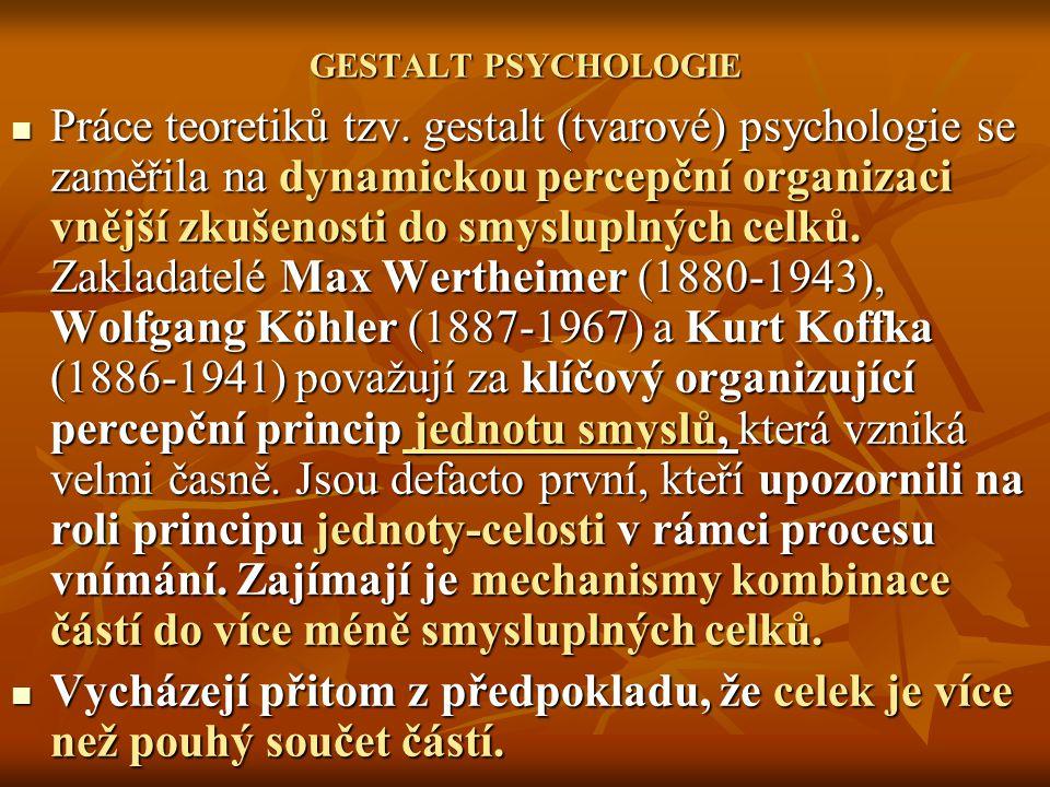 GESTALT PSYCHOLOGIE Práce teoretiků tzv. gestalt (tvarové) psychologie se zaměřila na dynamickou percepční organizaci vnější zkušenosti do smysluplnýc