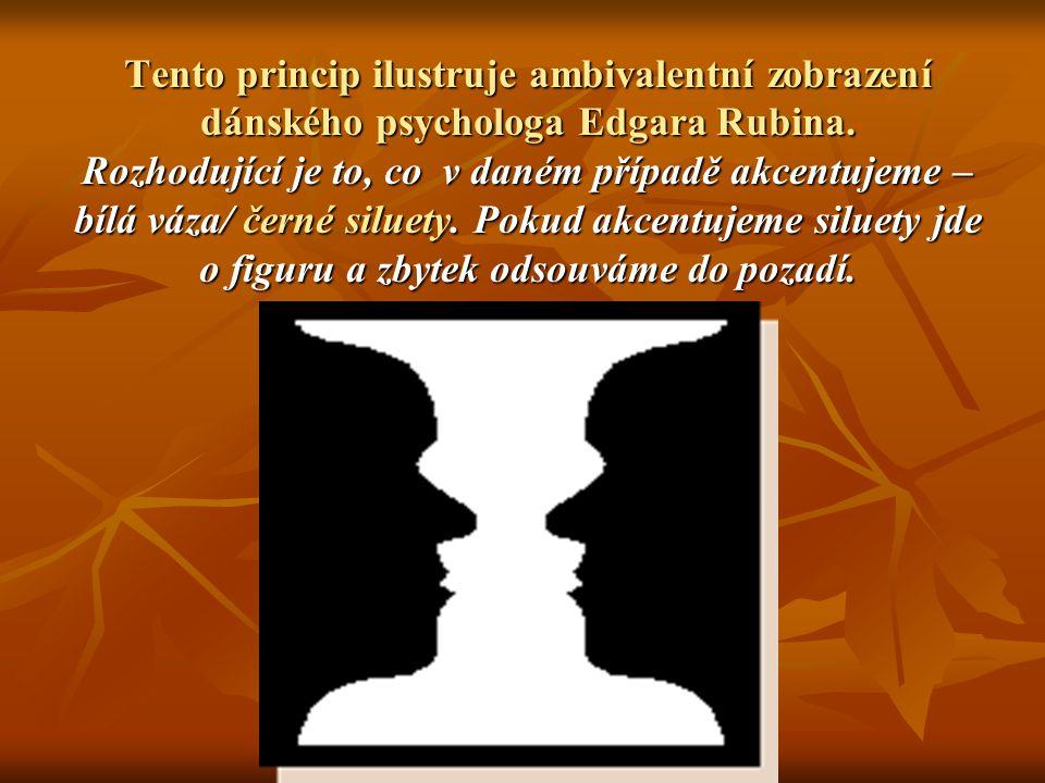 Tento princip ilustruje ambivalentní zobrazení dánského psychologa Edgara Rubina. Rozhodující je to, co v daném případě akcentujeme – bílá váza/ černé
