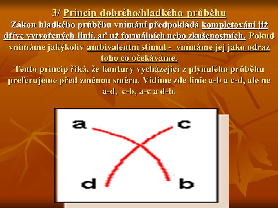 3/ Princip dobrého/hladkého průběhu Zákon hladkého průběhu vnímání předpokládá kompletování již dříve vytvořených linií, ať už formálních nebo zkušeno