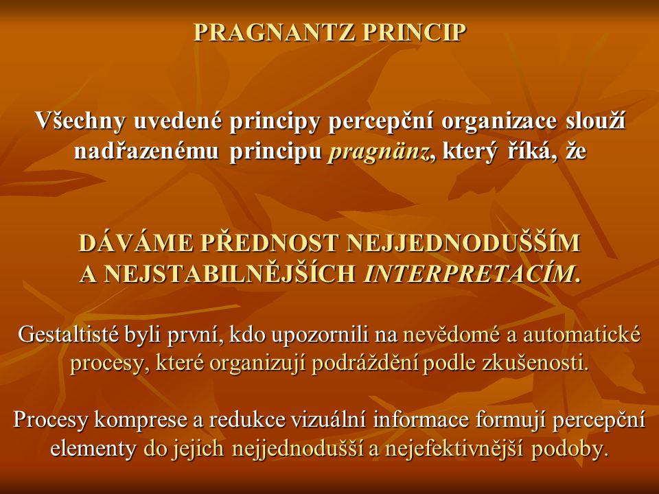 PRAGNANTZ PRINCIP Všechny uvedené principy percepční organizace slouží nadřazenému principu pragnänz, který říká, že DÁVÁME PŘEDNOST NEJJEDNODUŠŠÍM A