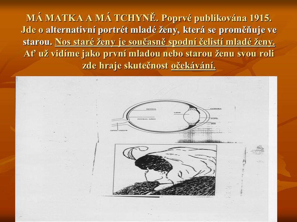 MÁ MATKA A MÁ TCHYNĚ. Poprvé publikována 1915. Jde o alternativní portrét mladé ženy, která se proměňuje ve starou. Nos staré ženy je současně spodní