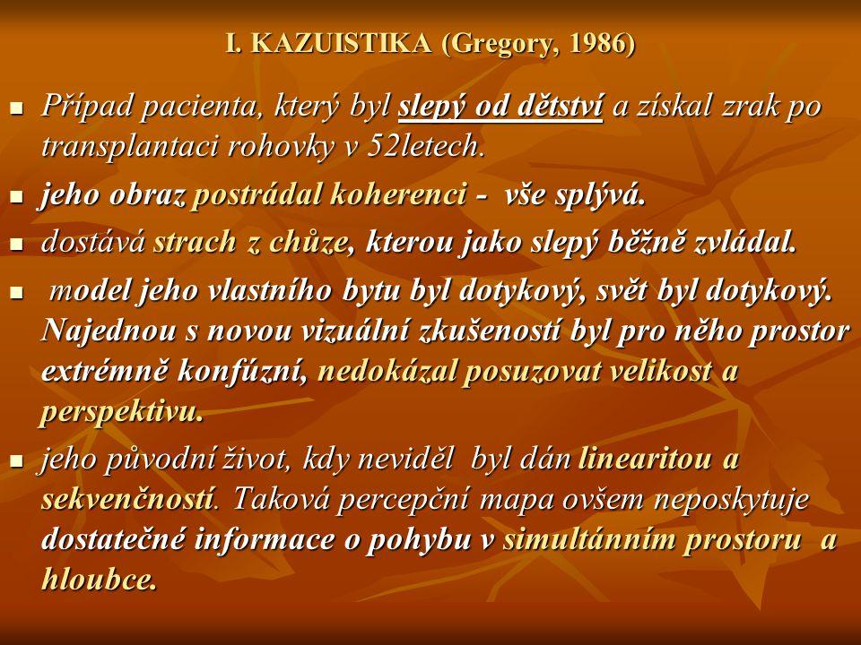 I. KAZUISTIKA (Gregory, 1986) Případ pacienta, který byl slepý od dětství a získal zrak po transplantaci rohovky v 52letech. Případ pacienta, který by