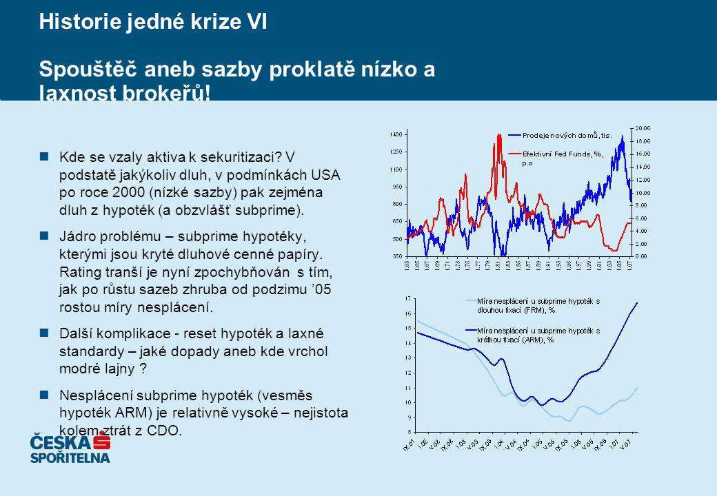 Historie jedné krize VI Spouštěč aneb sazby proklatě nízko a laxnost brokeřů.
