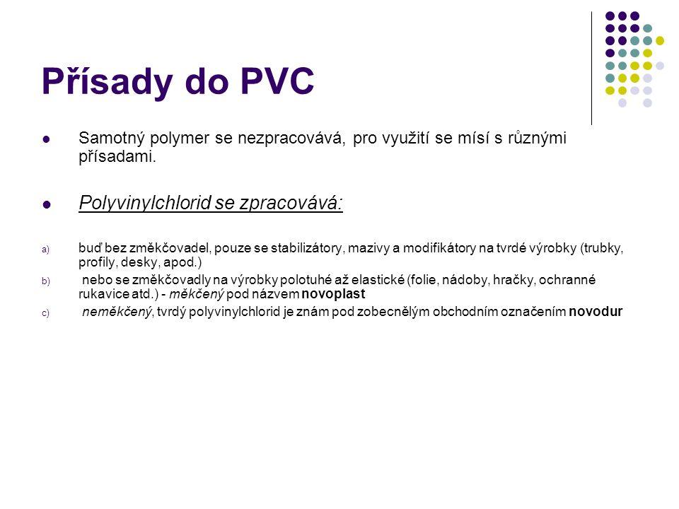 Přísady do PVC Samotný polymer se nezpracovává, pro využití se mísí s různými přísadami.