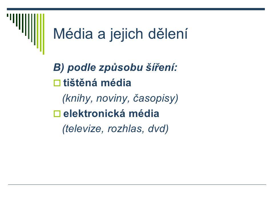 Média a jejich dělení B) podle způsobu šíření:  tištěná média (knihy, noviny, časopisy)  elektronická média (televize, rozhlas, dvd)